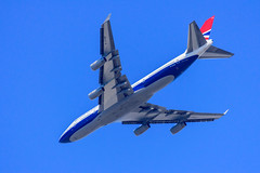 The Red White And Blue Retrojet (sbisson) Tags: ba retrojet b747 boeing britishairways negus ba100 red white blue putney london sky airliner summer
