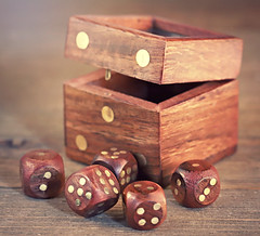 A Box of Dices (Through Serena's Lens) Tags: macromondays madeofwood woodenbox wood dices macro dof stilllife tabletop canoneos6dmarkii