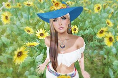 Rise Up (*kAmmieAnn*) Tags: stonesworks secondlife avatar fashion jewelry necklace earring silver wrapped summer nomatch liz missingmelody sunflower style trend appearance stealsanddeals sale hat floppyhat milliner millinery lapis