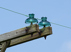 CD 302 Hemingray Insulators in service use (monon738) Tags: insulator glassinsulator electricity ohio pentax k3 closeup antiqueglass glass power powerdistribution powerlines powerpoles electric williamscounty smcpda300mmf40edifsdm