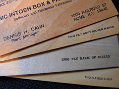 Made of Wood...HMM (novice09) Tags: macromondays madeofwood businesscards hmm