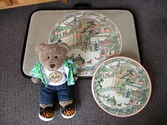D'ya like me new frisbee? (pefkosmad) Tags: acourtreception varipiece chinese used complete secondhand jigsaw puzzle hobby pastime leisure waddingtons 1965 damagedrepairedbox vintage round circular tedricstudmuffin ted teddy bear animal toy cute cuddly fluffy plush soft stuffed