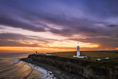 Nash Point Lighthouse (steved_np3) Tags: nash point lighthouse wales southwales nashpoint sunset sunrise sea ocean drone aerial dji mavic cliff orange sky clouds dramatic landscape