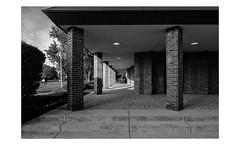 Long Island (PhotoRapper (Michael)) Tags: pentax k1 dslr cmos bw pentaxk1 rokinon rokinontiltshift24mmf35edasumc church brick shadow tiltshift ny newyork longisland