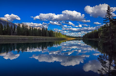 Cloudy down river (Robert Grove 2) Tags: clouds blue river banff trees nature