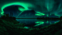 Taikamaa night (M.T.L Photography) Tags: taikamaa auroraborealis magicnight autumn water mirror reflection northernlights green ice trees forest mtlphotography mikkoleinonencom auroraphotography nightscape