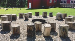 HBM (Mr. Happy Face - Peace :)) Tags: community retreat firepit bench benchmonday emptyseat happybenchmonday art2019 chairs outdoors albertabound canada camp weekend