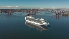 Cruise on the Forth (Grant Morris) Tags: drone dronephotography forthbridge forth riverforth scotland scottishcoastline fife fifecoast cruise ship cruiseship grantmorris grantmorrisphotography bluesky