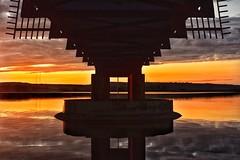 Sunset over Blackmoorfoot (Mr_Pudd) Tags: polemoor yorkshirewater reservoir steel drain outfall overflow bridge water huddersfield blackmoorfoot nikond750 nikon nikkor sunset afsnikkor50mmf14g
