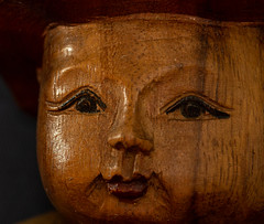 Made of wood (kurjuz) Tags: macromondays madeofwood brown eyes face mouth nose woodgrain woodstatuette