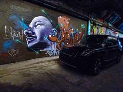 Shooting Stars (Steve Taylor (Photography)) Tags: mural streetart tag mauve purple black man uk gb england greatbritain unitedkingdom london leakestreet tunnel car