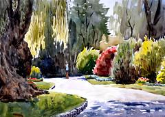 Edwards Garden 15, Plein Air, 2019-07-29 (light and shadow by pen) Tags: watercolor landscape toronto park edwardsgarden art