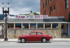 Former Miss Adams Diner, Adams, Massachusetts. (63vwdriver) Tags: worcester lunch car company miss adams diner mass massachusetts 1967 volvo amazon 122 122s red izzys pizza