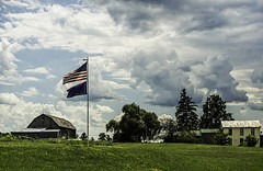 Storms Brewing Upstate (LJS74) Tags: landscape decay barn americanflag clouds storm sky flag farm fingerlakes upstatenewyork newyorkstate