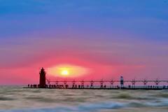 South Haven, MI (dangaken) Tags: southhaven lighthouse beach shore lake greatlakes lakemichigan mi michigan mich sunset dusk westside freshcoast puremichigan bluehour shoreline water waterfront red fuji fujifilm fujixmount fujixsystem fujifilmxsystem fujix fujifilmx