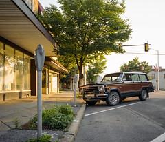 Wagoneer, central PA, summer 2018. Pentax 6x7. (preston161) Tags: jeep amc wagoneer chrysler pentax 6x7 film 120film portra400 kodak soloparking streetparking classiccar car truck