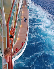 Leaving Sint Maarten - Aboard Independance of the Seas (TravelsWithDan) Tags: candid water churning wake boat ship cruiseship decks fromabove caribbean ocean atlantic sintmaarten leaving independanceoftheseas people outdoors