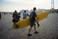 Show's Over (dtanist) Tags: nyc newyork newyorkcity new york city sony a7 7artisans 35mm brooklyn coney island beach sand sea shore search rescue missing police nypd fdny firefighters board surfboard