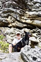 Adventure Dog & Companion (phthaloblu) Tags: hangingrockstatepark torisdenfalls usa northcarolina nc rocks dog drago husband shrubs adventuredog