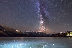 Banff Evening Freeze (Jeff Saly) Tags: banff nationalpark nightscape milkyway stars mountains fresh air ice cold canada landscape starscape peaceful frozen