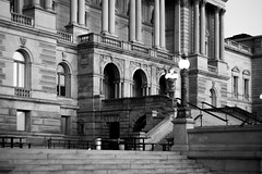 Library of Congress (John Brighenti) Tags: capitolhill washington dc districtofcolumbia blackandwhite bw monochrome greyscale contrast light shadow white black dark architecture moody lonely lines stone brick masonry marble carved building sony a7 ilce7 streetphotography photography flickr bealpha sonyshooter columns lights steps capitol libraryofcongress loc minolta rokkor 50mm