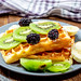 Sweet Belgian waffles with fruit