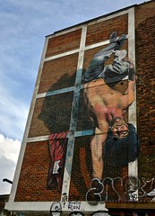 Handstand, London, UK (Robby Virus) Tags: london england uk unitedkingdom britain greatbritain gb handstand upside down acrobatic athletic man young wall mural street art
