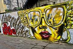 Golden, London, UK (Robby Virus) Tags: london england uk unitedkingdom britain greatbritain gb candie bandita carleen artist mural street art desozer live life like golden glasses woman flowers