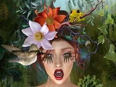 Eden schmeden (Tympany) Tags: garden eden frog floral flowers plants hummingbird lode longlashes redlips amusing logo alexis bento secondlifesl expression surprise shock ouch eyes
