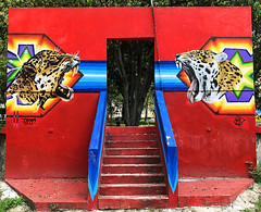 Jaguar Warriors by Trepo Parker & Terco (wiredforlego) Tags: graffiti mural streetart urbanart aerosolart publicart jalisco guadalajara mexico gdl terco trepoparker