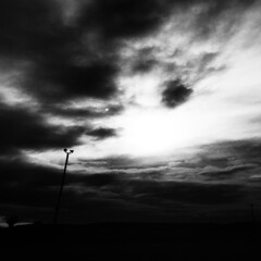 The significance of civilization (ChrisRSouthland (mostly off, traveling & working)) Tags: minimal minimalistic bw blackandwhite monochrome southland newzealand sky clouds contrast strongcontrast provoke provokeapp iphone