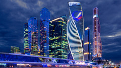 Moscow, Russia: Moscow City, International Business Center at night (nabobswims) Tags: bluehour businesscenter ilce6000 lightroom luminositymasks mirrorless moscow moscowcity nabob nabobswims night nightfoto photoshop ru russia sel18105g skyscraper sonya6000