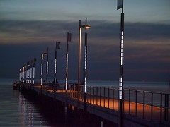 Frankston - Moody sky (rosgloryfire) Tags: pier storm seascape color australia bay evening scenic reflections dusk water olympus light clouds skydrama bluehour sea sky nature landscape