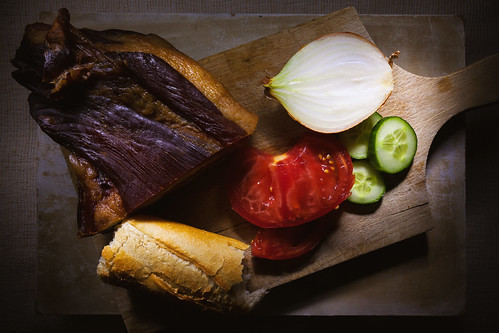 Prosciutto, Bread and Vegetables