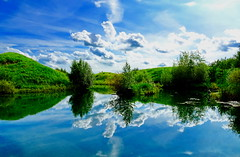 Twice as nice (peggyhr) Tags: lake clouds trees hills green blue white dsc05536a bluebirdestates alberta canada peggyhr reflections sky sunshine shadows sparkling