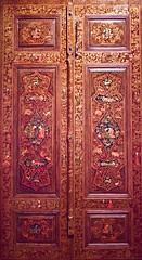Lacquer door bought from Kehyahian decorated with figurative scenes dated 1644. They are actually a revivalist imitation made in the 19th century in reaction tp the rapid modernization of Iran. (pedrosimoes7) Tags: lacquerdoor iran qujarperiod 19thcentury caloustegulbenkianmuseum sãosebastiãodapedreira lisbon portugal dwwg