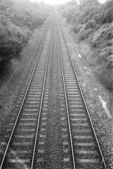 Olympus AF-1 (camera_holic) Tags: olympus af1 compact camera 35mm black white hp5 grain film analogue analog glos gloucestershire uk england vanishing point train rail railway track lines lower wick