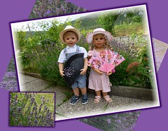 Riechst du den Lavendel ? :-) / Do you smell the lavender ? :-) (ursula.valtiner) Tags: puppe doll luis bärbel künstlerpuppe masterpiecedoll garten garden lavendel lavender fächer fan lila purple