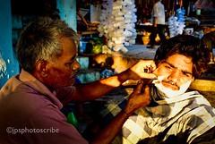A close shave (stewardsonjp1) Tags: sunlight india man river dawn chair streetphotography streetportrait streetlife streetscene barber shave varanasi bathe ganges