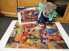 Nice an' brite an' cullerful! (pefkosmad) Tags: jigsaw puzzle hobby leisure pastime 1000pieces used secondhand complete tedricstudmuffin teddy ted bear animal toy cute cuddly fluffy plush soft stuffed
