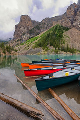 Moraine Lake (Rob McC) Tags: landscape lake reflections mountains waterfront kayak leisure relax tranquil alberta canada