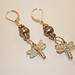Precioua metal clay dragonfly with pearls earrings