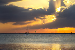 Beneath an Exploding Sunset (SteveFrazierPhotography.com) Tags: sailboat vessel boat mast rigging sailors navigationlights bay harbor waves chanelmarkers birds orange yellow gold golden clouds beams rays light charlotteharbor poncedeleon historicalpark puntagorda isles pgi sunset intense dramatic beautiful water shore shoreline stevefrazierphotography november 2017 waterscape landscape scene scenery cloudy