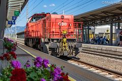 Local train at Jenbach Station,  Austria (mandyhedley) Tags: cograilway jenbach hdr canon7dii canonphotography trainstation achenlake achensee austria innsbruck train