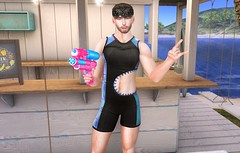 Beat the Heat! (EnviouSLAY) Tags: gacha holo black bandana newreleases new releases squirtgun squirt gun modulus spoiled riot wetsuit beach summer beachscene scene secondlifefashion secondlifephotography lelutka andrea belleza jake bento shark theepiphany the epiphany uber equal10 monthlyevent monthlyfashion monthlyfair monthly event fair fashion gachaevent gachafashion gachafair pale male gay lgbt blogger secondlife second life photography