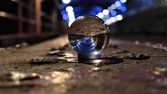 """"""" Dark star crashes, pouring it's light into ashes """" (gohope777) Tags: lensball vibrant bokeh reflections light dark arches leeds railway station west yorkshire"""