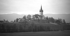 my favorite church (majka44) Tags: slovakia church history building travel landscape architecture blackand white blackandwhite tree hill car road black|white biancoenero