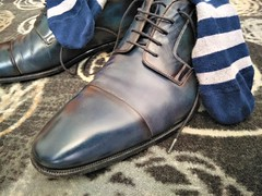 Hotel shoe play 20 (Adam11051983) Tags: blue captoes dress footwear formal lace leather men mens shoe shoes sock socks