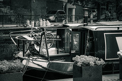 Lifestyle bw (Мaistora) Tags: boat narrowboat ship river canal riverboat street lifestyle bike bicycle flowers cars urban city romantic eccentric hippy film analogue style living alternative outdoor open air water nature elements adventure grandunion paddington paddingtoncentral basin london england britain uk thames thamesvalley leica dlux typ109 lightroom skylum luminar flex bw blackandwhite bnw mono monochrome silver paper print