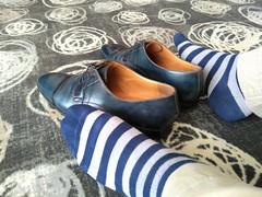 Hotel shoe play 13 (Adam11051983) Tags: blue captoes dress feet foot footwear formal lace leather men mens shoe shoes sock socks